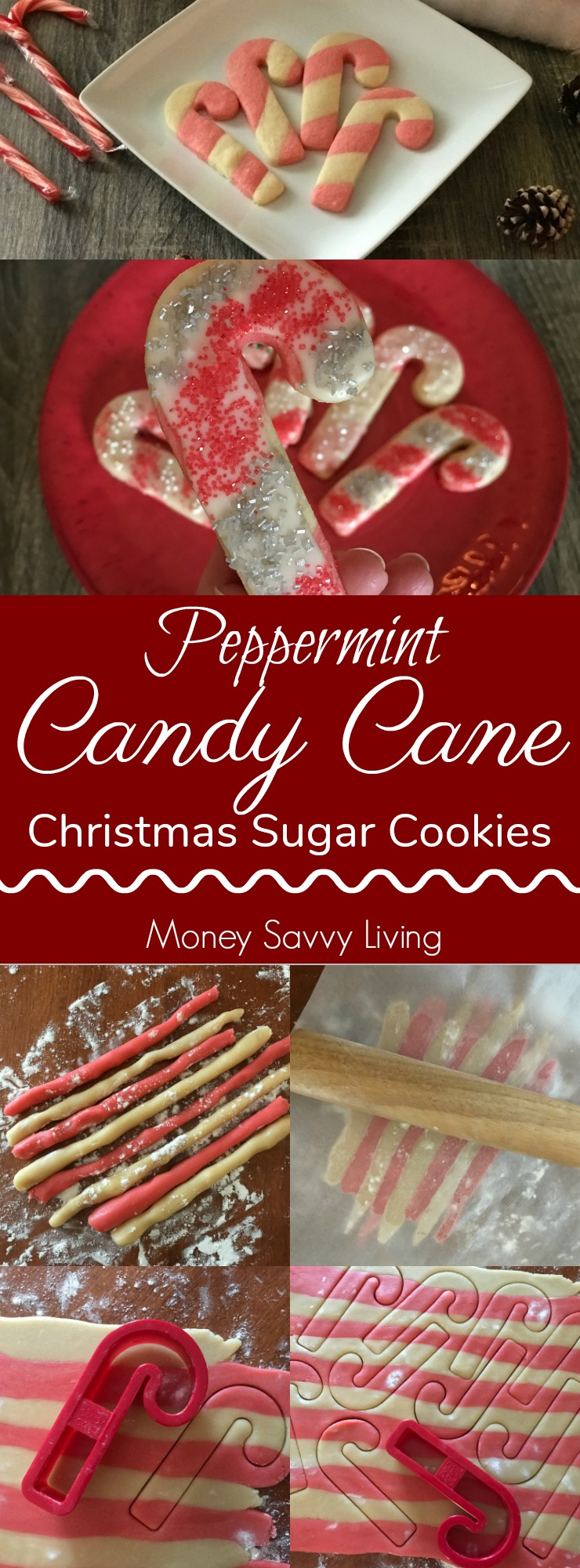 You are going to love this fun twist on the classic Christmas sugar cookie! Peppermint Candy Cane Christmas Sugar Cookies #Christmas #cookies #sugarcookies #candycanes #peppermint #christmascookies #cookierecipes #frostedcookies