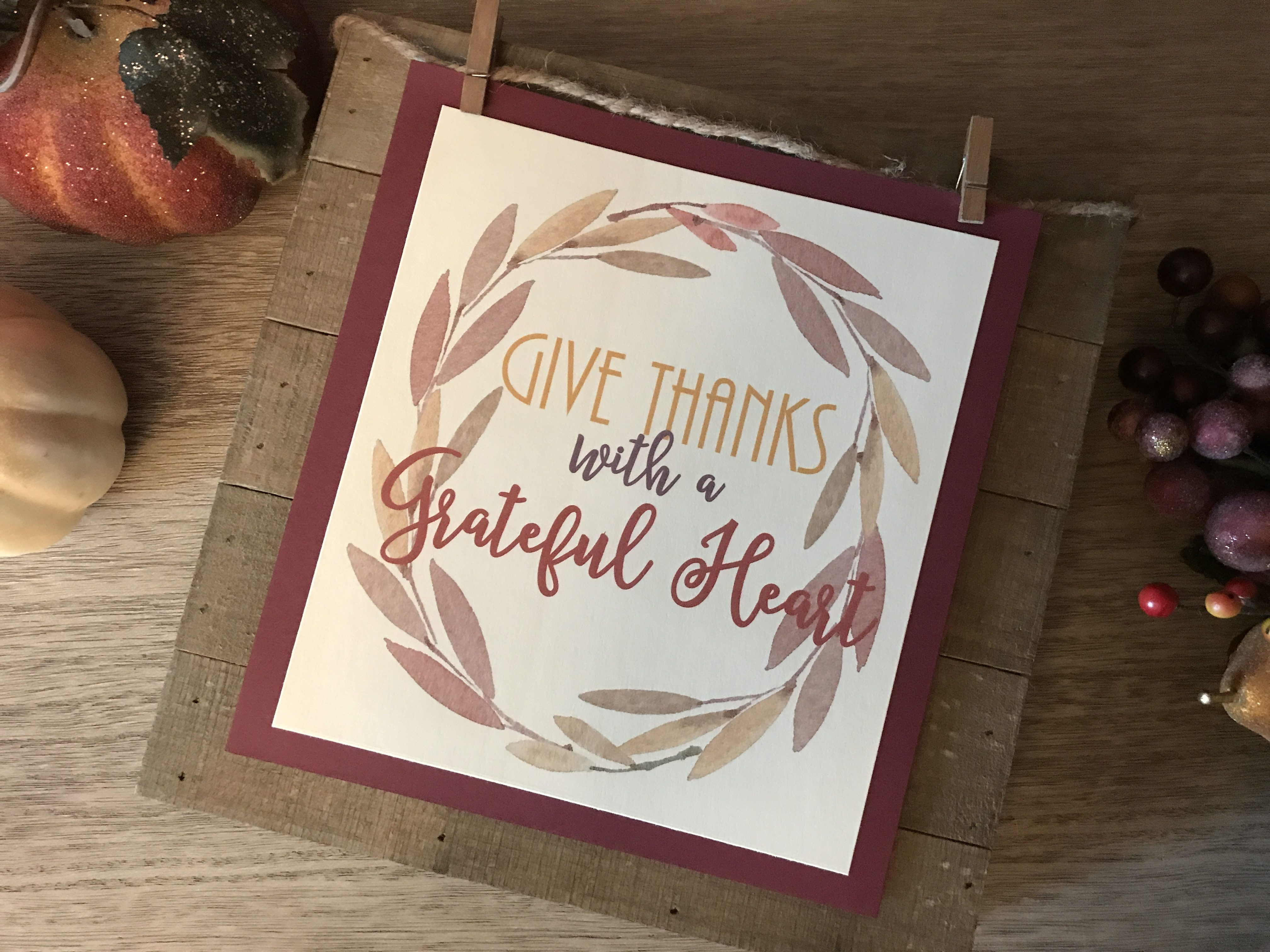 Give Thanks with a Grateful Heart FREE Fall Printable #fall #autumn #thanksgiving #printable