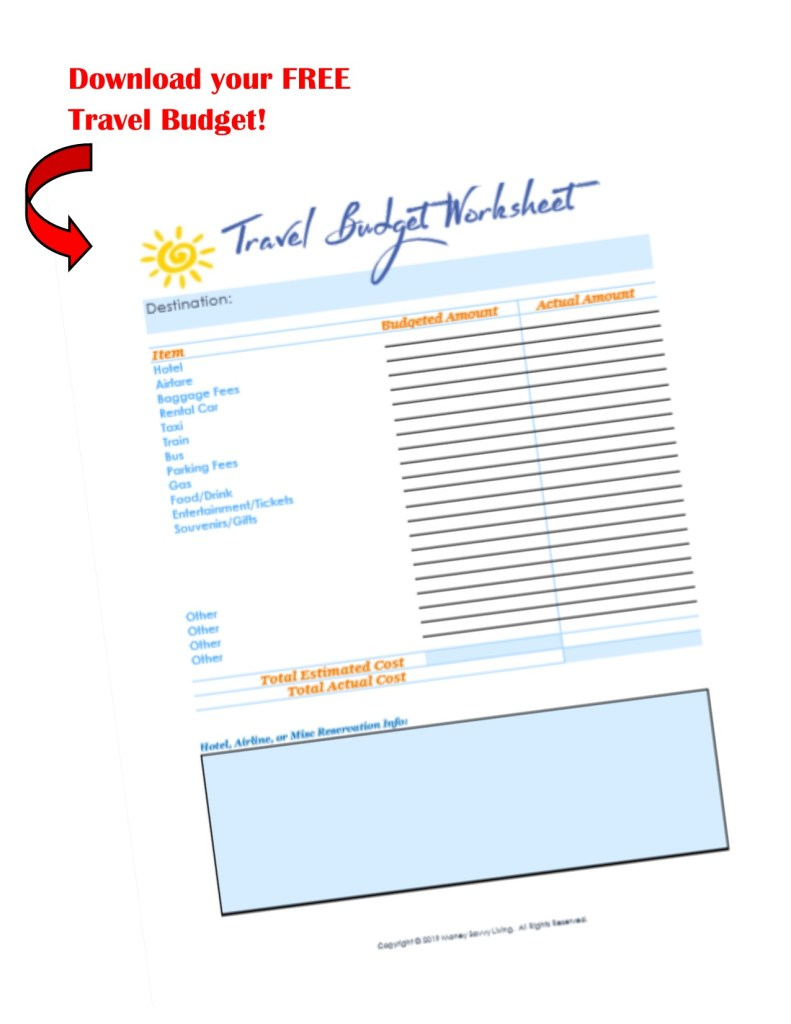 Travel Budget Worksheet #printable #budget #travel
