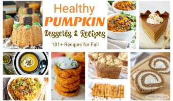 Looking for Healthy Pumpkin Desserts and Recipes for fall? This is the ultimate roundup with 101+ healthy pumpkin recipes! #healthy #healthyliving #healthycooking #pumpkin #pumpkindesserts #pumpkinsoup #pumpkincookies #pumpkinbread #pumpkinmuffins #healthyrecipes