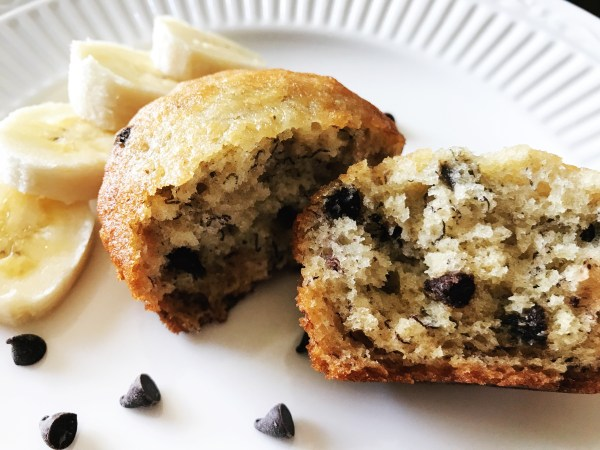 This recipe can be used for muffins or made into a loaf of bread... it's so moist and sweet! Chocolate Chip & Banana Muffins are a great snack or side for a meal! #banana #chocolatechip #bread #breadrecipe #muffins #muffinrecipe #chocolatechipmuffins #chocolatechipbread #bananabread #bananamuffins