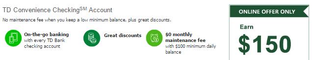 TD Convenience Checking $150 Bonus