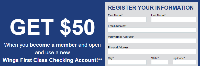 Wings Financial $50 Bonus