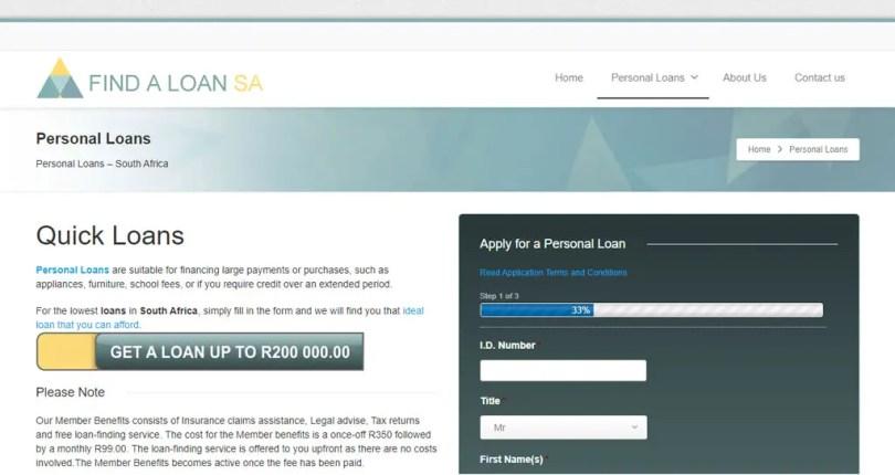 Find-A-Loan SA Website