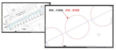杭の実測値を施工図に自動的にプロット
