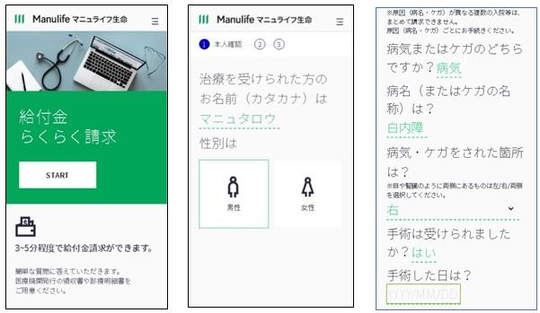 スタートページと入力画面例