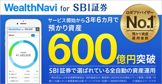 「WealthNavi for SBI証券」サービス開始約3年6カ月で預かり資産600億円を突破