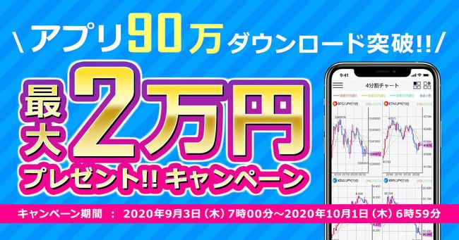 【DMM Bitcoin】最大2万円プレゼント!アプリ90万ダウンロード突破!キャンペーンのお知らせ