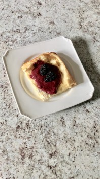 keto, gluten-free german pancake and berry syrup
