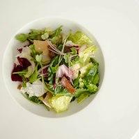 Winter salad with a warm prosciutto vinaigrette