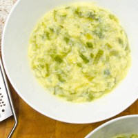 Zucchini, egg and cheese soup