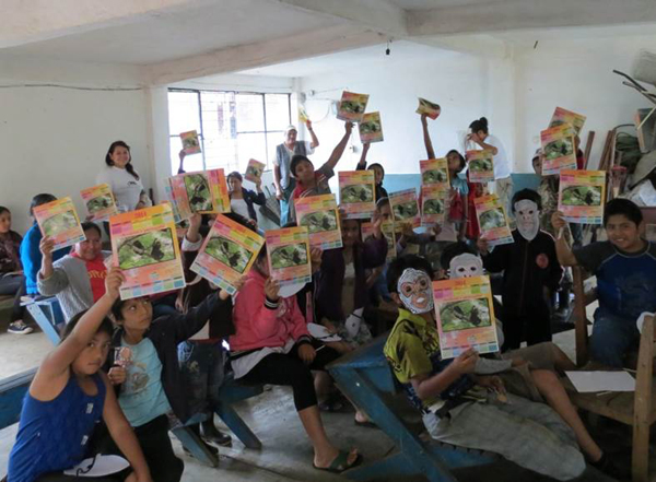 The students show off their work during Monkey Week. Photo courtesy of Juan Carlos Serio Silva.