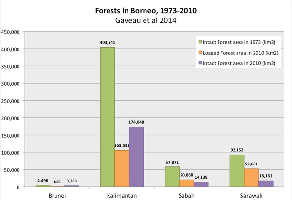 Chart showing forest loss in Borneo between 1973-2010.