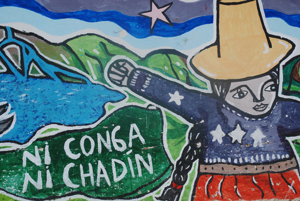 'Detail from a mural in the town of Celendin where opposition to the proposed Conga mine is high. Many people believe the proposed dams for the Marañón, like Chadin 2, are intended to supply energy to destructive mining projects, like Conga.' Photo credit: David Hill