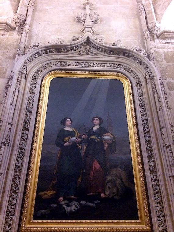セビリア大聖堂のゴヤの絵「聖フスタと聖ルフィーナ像」