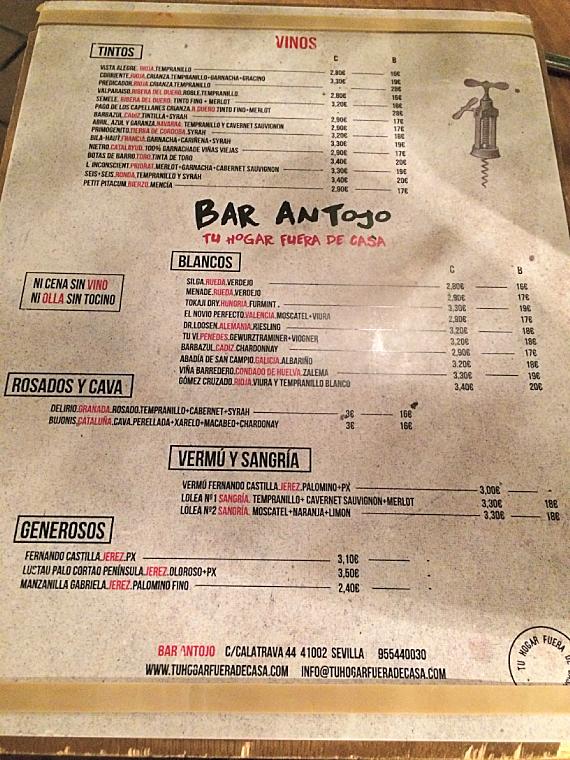 セビリアのバル「Antojo」のワインメニュー