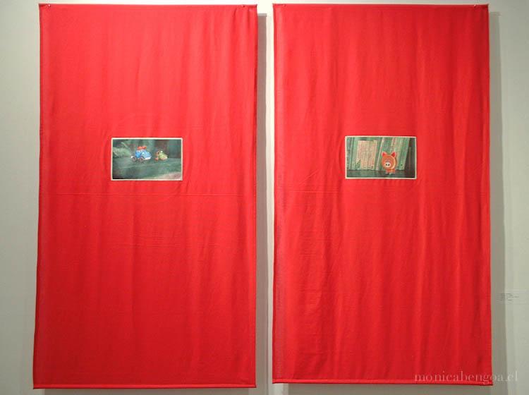 Dos bordados a mano sobre transfer fotográfico en tela de algodón