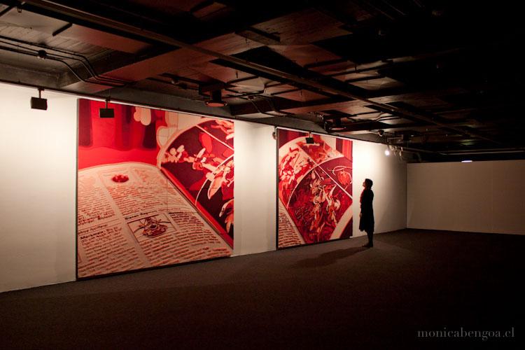 Díptico de once capas de fieltro de lana natural calado a mano. The Storytellers (2012). Stenersen Museet, Oslo, Noruega