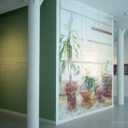 Mural de 528 servilletas de papel coloreadas a mano.