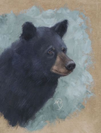 """Ursus americanus portrait. Original oil painting, 11""""x14"""". Available. You can also buy this image printed on home décor items such as canvas prints and even pillows and coasters. See the Shop tab for more details."""