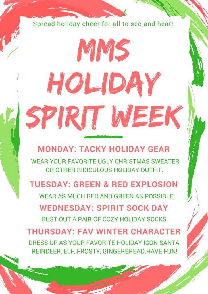 Christmas Spirit Week Ideas.Holiday Spirit Week Monica Genta