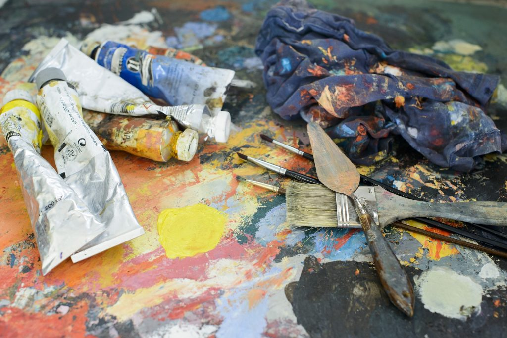oil paint messy materials