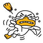 Kakao Friends Tube duck emoji falling backwards and losing one flipper