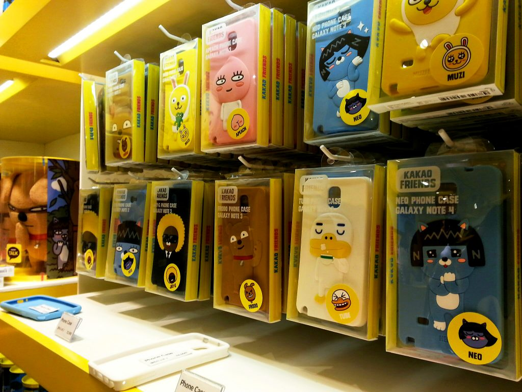 Kakao Friends phone cases at emoji pop store