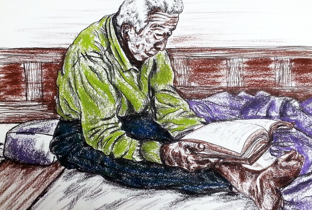 Avid Reader pastel drawing of elderly man sitting on floor with