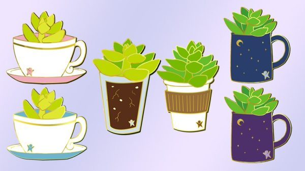 "Monetizing Your Interests - ""Succs in Cups"" Seasonal Succulent Enamel Pin Kickstarter layout with 6 pin designs arranged on a light purple gradiant background. The left two designs are yellow-green succulents in 2 blue and pink teacups. Center two designs have a succulent growing in a glass and another darker green succulent growing in a paper coffee cup. The right two designs feature succulents in a blue mug and purple mug."