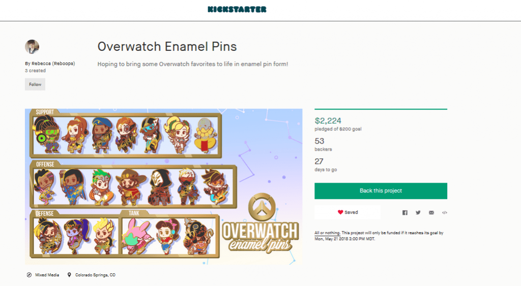A screenshot of Reboops' Kickstarter project for 20 Overwatch-inspired enamel pins