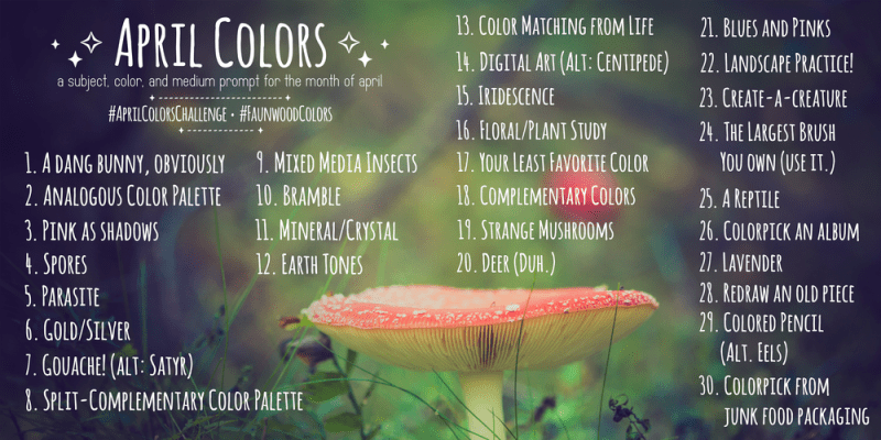 April Art Challenge - AprilColorsChallenge prompts