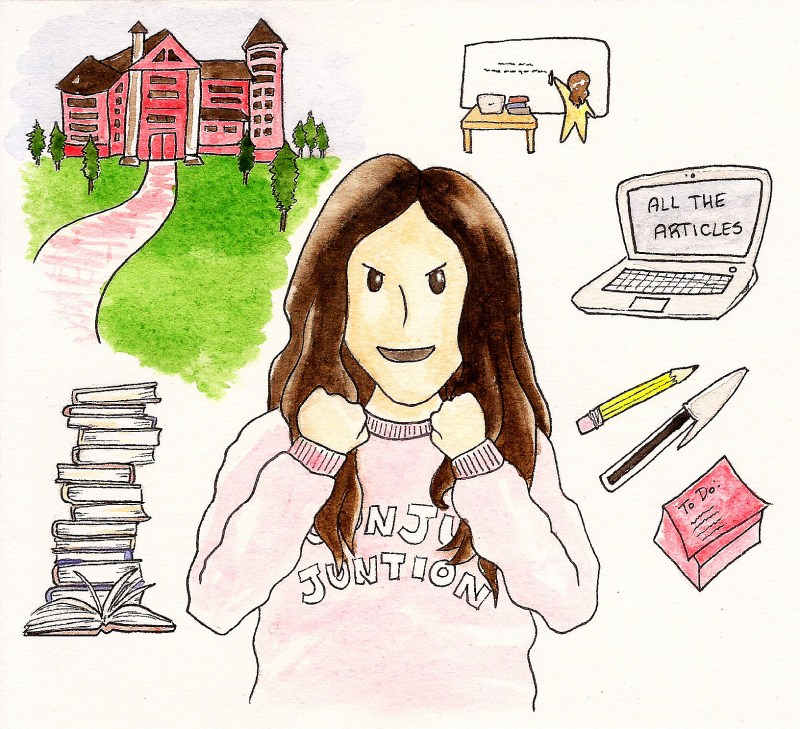 applying to grad school comics: excited woman in a pink sweater imagining what graduate school will be like