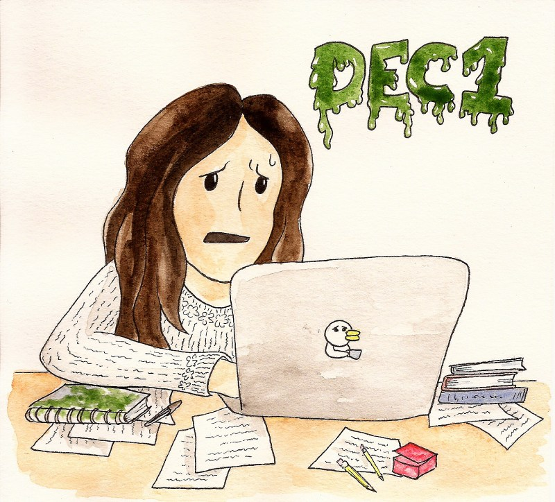 "applying to grad school comics: woman sitting in front of a laptop looks stressed. Papers, notes and writing utensils litter the desk. The upper right corner reads ""Dec 1"" in green dripping font."