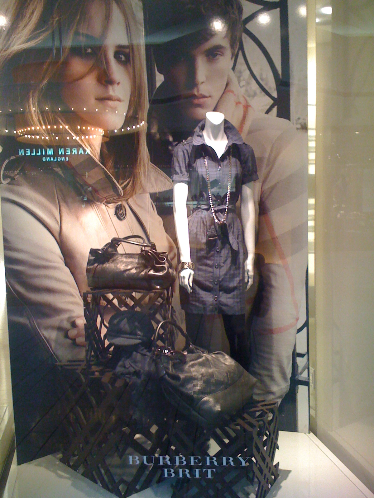 burberry's windows...polished & showing off their bags