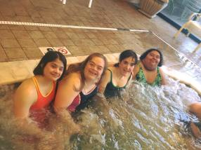6. Girls in hottub