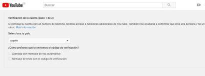 verificación canal de Youtube