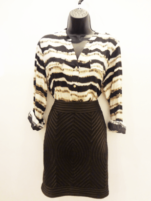 Calvin Klein Blouse $29 - Lucy & Co. Brown Pencil Skirt $49