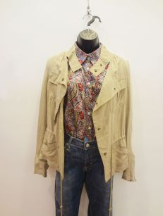 Beulah Tan Bomber/Utilitarian Jacket $49.00 - Georg Roth Paisley Blouse $59.00 - Paper, Denim, and Cloth Jeans $29.00