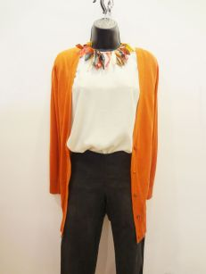 Burnt Orange Cardigan $29.00 - Seasons Ivory Top $29.00 - Dyed Buffalo Horn Necklace $110.00 - Beulah Grey Pants $29.00