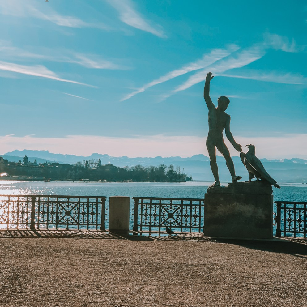 ganymed - the prominent sculpture by lake zurich