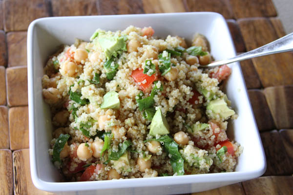 quinoa, chickpea, avocado salad at thegrommom.com