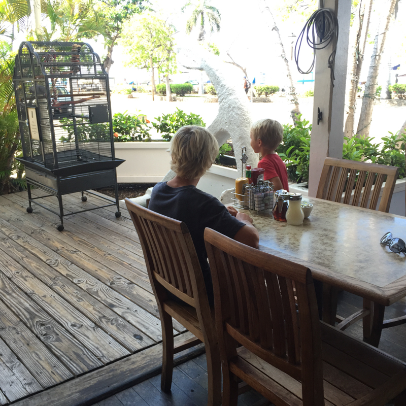 Kids and Parrot at Pioneer Inn