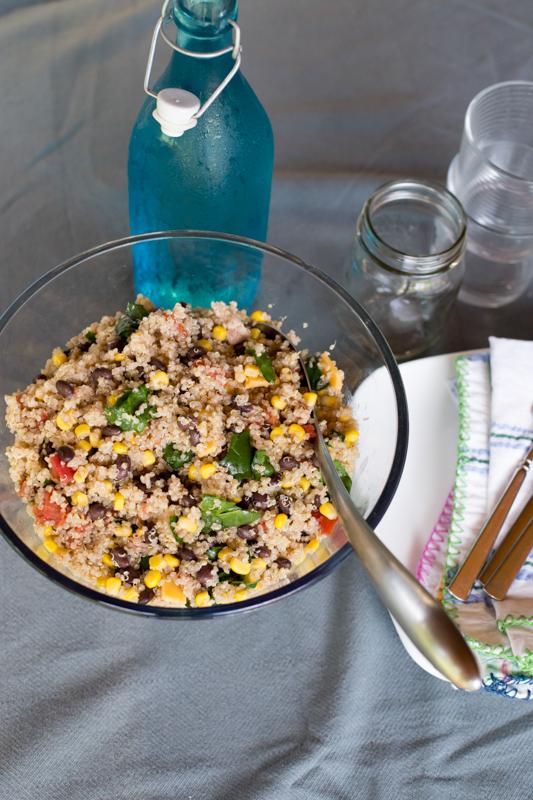 quinoa, black bean, kale and corn salad