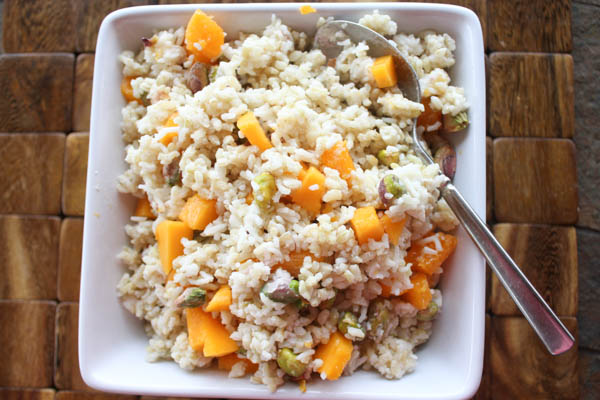 Coconut rice w/ papaya and pistachios, at thegrommom.com