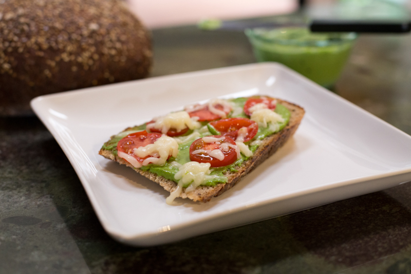 pesto toast w/ tomato and mozzarella