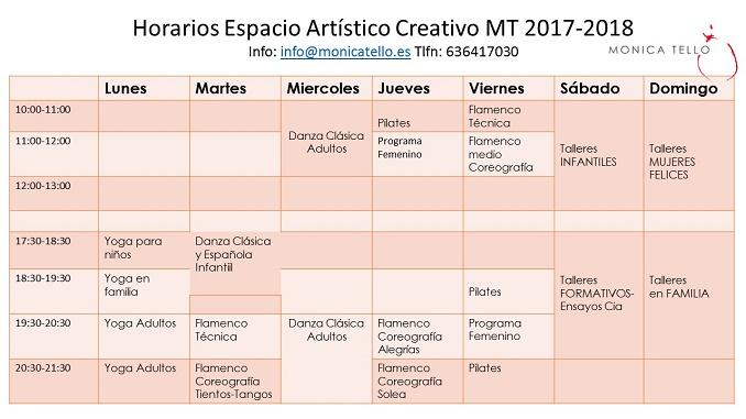 Horarios de Clases y Actividades 2017-2018 en el Espacio Artístico Creativo MT