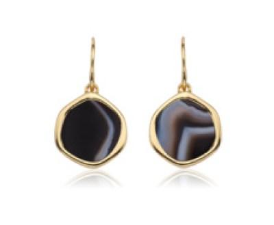 Gold Vermeil Atlantis Gem Earrings - Line Onyx - Monica Vinader