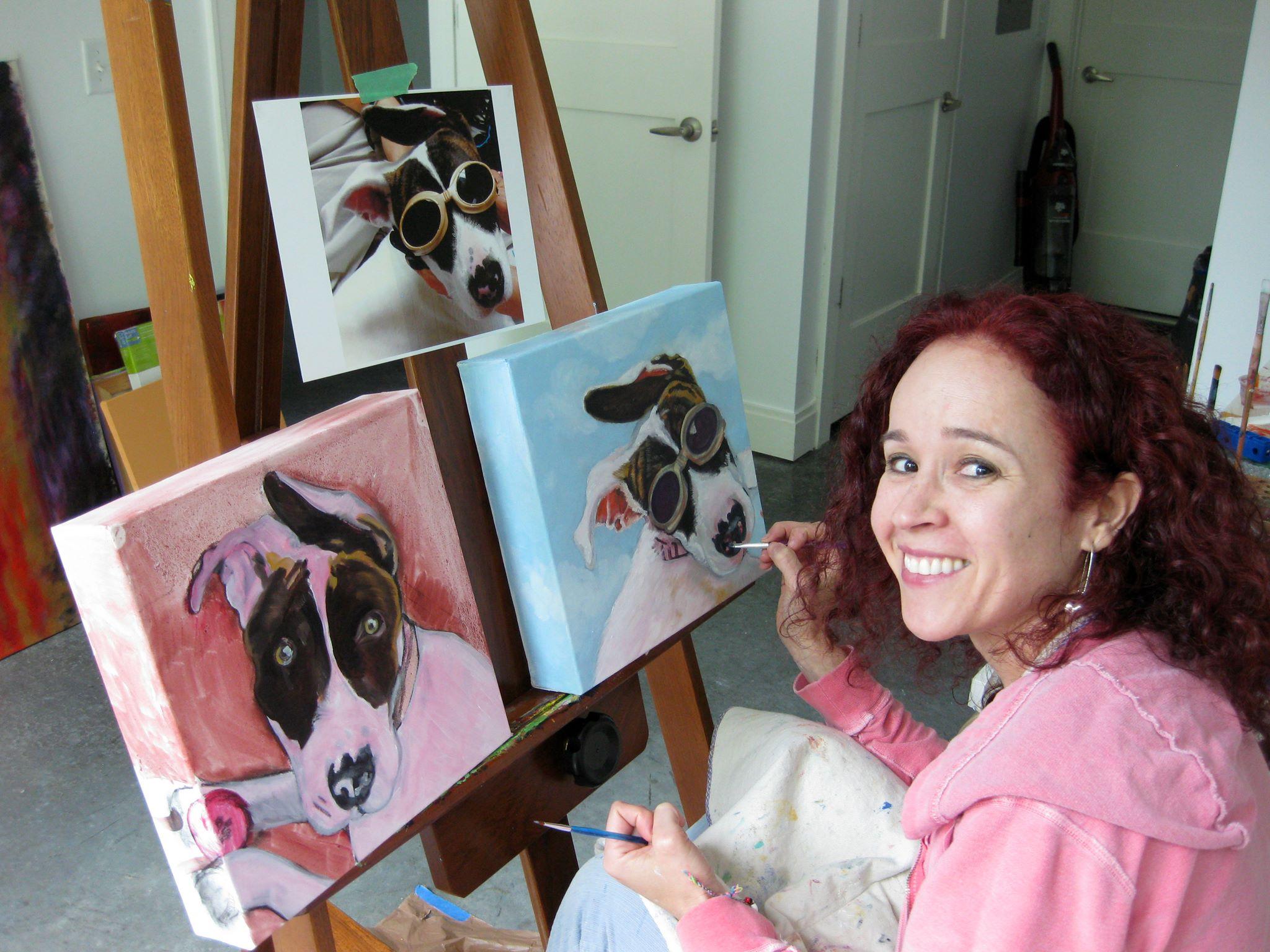 Monika Ruiz with Pet Portrait