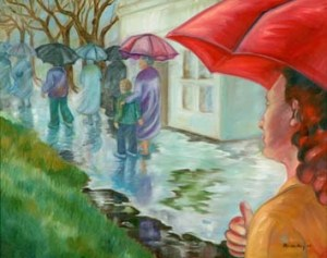 Monika Ruiz Art - Rain in Town